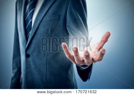 Midsection of businessman indicating against purple vignette