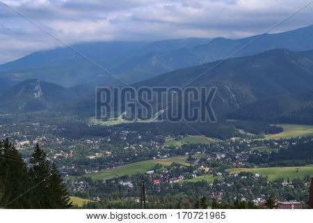 Tatra Mountains and Zakopane town at the foot the mountains