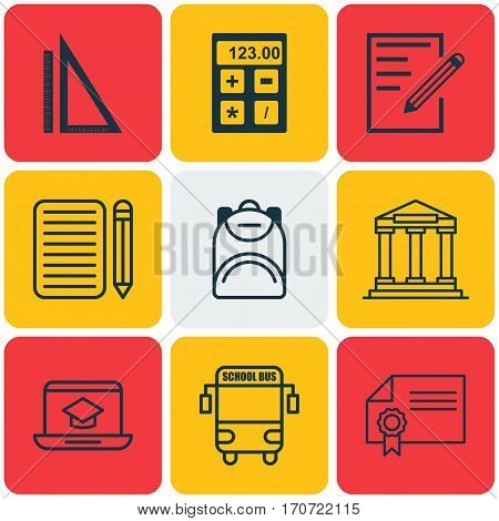 Set Of 9 Education Icons. Includes Distance Learning, Diploma, College And Other Symbols. Beautiful Design Elements.