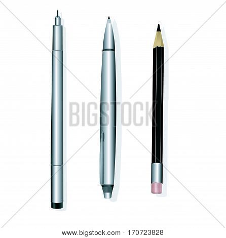 Silver pen and pencil vector mockups. Corporate identity and branding stationery template. Branding pen and pencl identity, office pencil and pen, design pen and pencil illustration