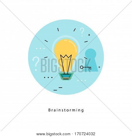 Light bulb icon for idea, brainstorming, creative thinking, analysis, education, research, learning, trainings, courses. Flat line business vector illustration banner for mobile and web graphics