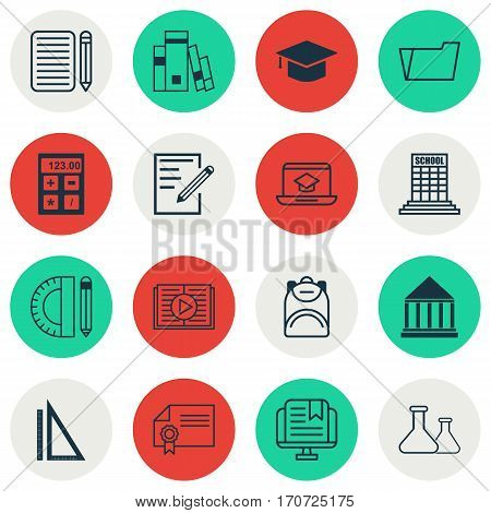Set Of 16 Education Icons. Includes Taped Book, Education Center, Document Case And Other Symbols. Beautiful Design Elements.
