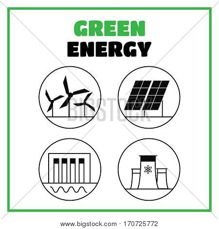 Generation energy types. Power plant icons vector. Generation energy vector