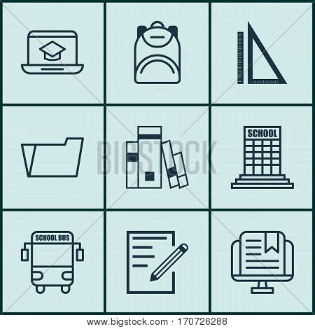Set Of 9 School Icons. Includes Haversack, Academy, Document Case And Other Symbols. Beautiful Design Elements.
