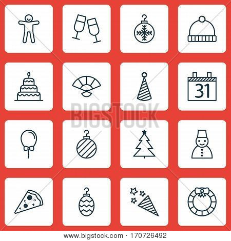 Set Of 16 Christmas Icons. Includes Christmas Toy, Sliced Pizza, Garland Symbols. Beautiful Design Elements.