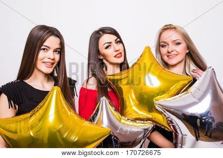 Three Smiling Gourgeous Girls With Balloons In Night Dresses