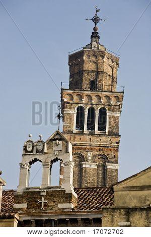 campanile santo stefano in the beautiful city of venice in italy