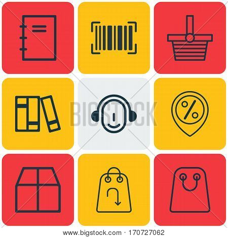 Set Of 9 E-Commerce Icons. Includes Cardboard, Tote Bag, Discount Location And Other Symbols. Beautiful Design Elements.
