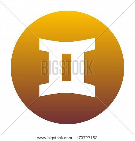 Gemini sign. White icon in circle with golden gradient as background. Isolated.