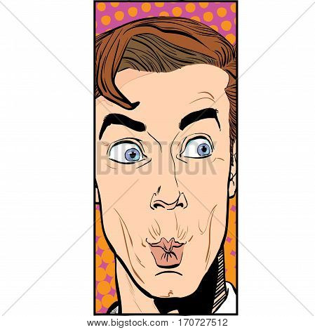 Portrait of surprised man. Surprised businessman. Surprised man. Concept idea of advertisement and promo. Pop art retro style illustration. People in retro style.