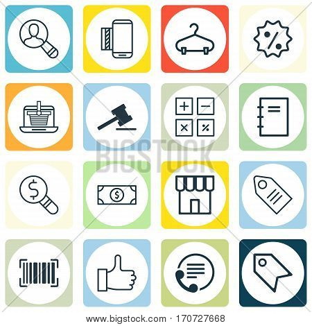 Set Of 16 E-Commerce Icons. Includes Spectator, Peg, Buck And Other Symbols. Beautiful Design Elements.
