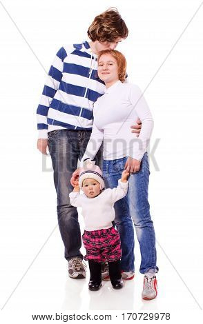 Happy Young Family with toddler standing together isolated