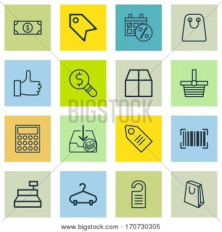 Set Of 16 Commerce Icons. Includes Till, Price, Tote Bag And Other Symbols. Beautiful Design Elements.