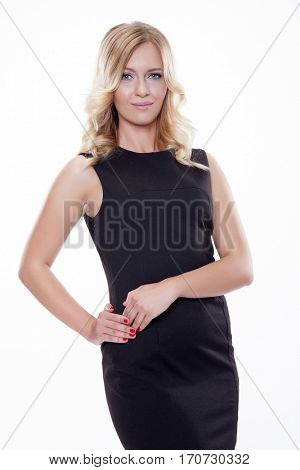Close up portrait of beautiful young adult attractive sexy and sensuality pretty blonde woman elegance business style dress, Isolated on white background