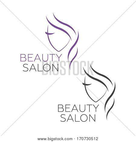 Beautiful woman vector logo template for hair salon beauty salon. Beautiful woman vector