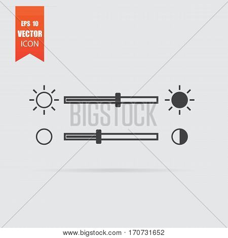 Brightness Slider Icon In Flat Style Isolated On Grey Background.