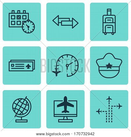 Set Of 9 Travel Icons. Includes Airport Card, Luggage, Internet Ticket And Other Symbols. Beautiful Design Elements.