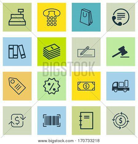 Set Of 16 Ecommerce Icons. Includes Identification Code, Dollar Banknote, Handbag Symbols. Beautiful Design Elements.