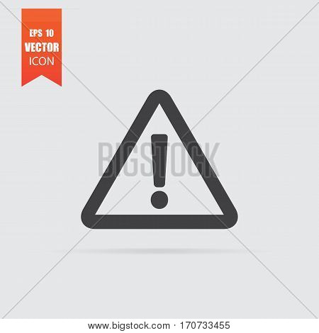 Warning Icon In Flat Style Isolated On Grey Background.