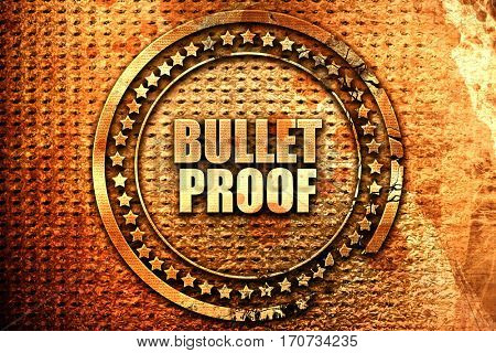 bullet proof, 3D rendering, text on metal