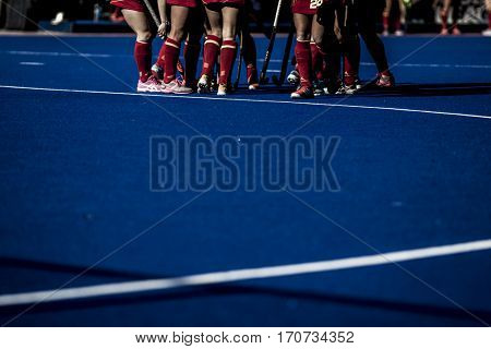 VALENCIA, SPAIN - FEBRUARY 5: Spanish players during Hockey World League Round 2 match between Spain and Czech Republic at Betero Stadium on February 5, 2017 in Valencia, Spain