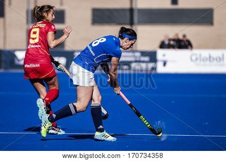 VALENCIA, SPAIN - FEBRUARY 5: (L) Lopez, (R) Dukatova during Hockey World League Round 2 match between Spain and Czech Republic at Betero Stadium on February 5, 2017 in Valencia, Spain