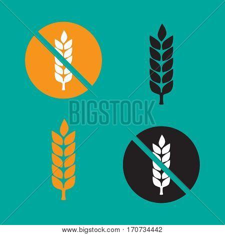 Wheat yellow gluten free grain icon. Gluten free vector