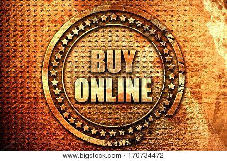 buy online, 3D rendering, text on metal