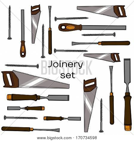 Collection of hand drawn Carpentry, woodworker, joinery icons. Craft Woodwork Screwdriver Table Hamme, Carpenter.