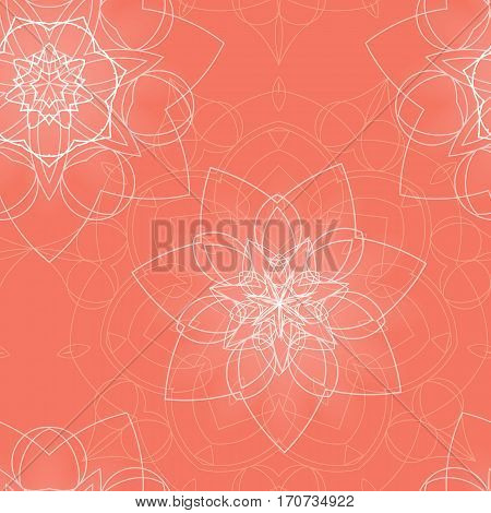 Pink seamless pattern with floral mandala. Sacred geometry. Ethnic bohemian ornament. Indian mandala background. Print for fabric and wrapping paper. Yoga, meditation theme. Vector EPS10 illustration.
