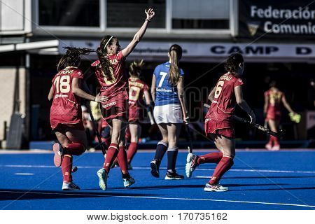 VALENCIA, SPAIN - FEBRUARY 5: Salvatella celebrates a goal during Hockey World League Round 2 match between Spain and Czech Republic at Betero Stadium on February 5, 2017 in Valencia, Spain
