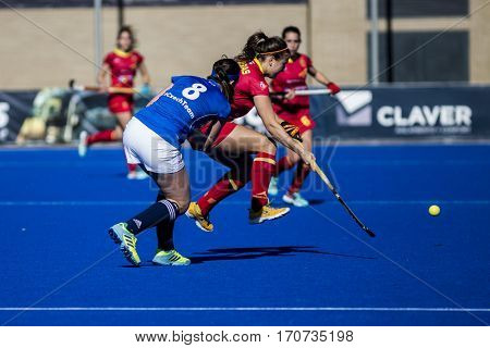 VALENCIA, SPAIN - FEBRUARY 5: (8) Dukatova and Iglesias during Hockey World League Round 2 match between Spain and Czech Republic at Betero Stadium on February 5, 2017 in Valencia, Spain