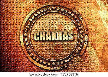 chakras, 3D rendering, text on metal