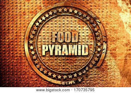 food pyramid, 3D rendering, text on metal