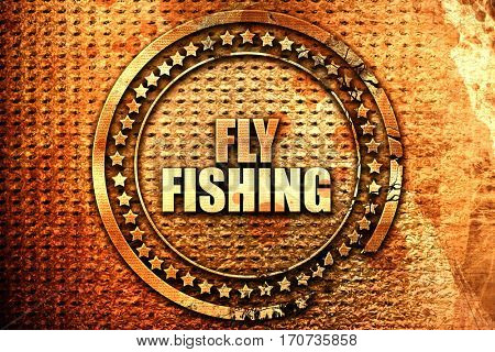 fly fishing, 3D rendering, text on metal