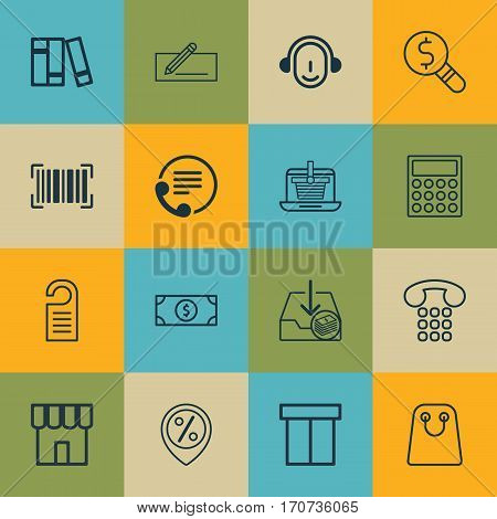 Set Of 16 Ecommerce Icons. Includes E-Trade, Box, Business Inspection And Other Symbols. Beautiful Design Elements.