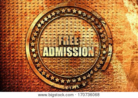 free admission, 3D rendering, text on metal