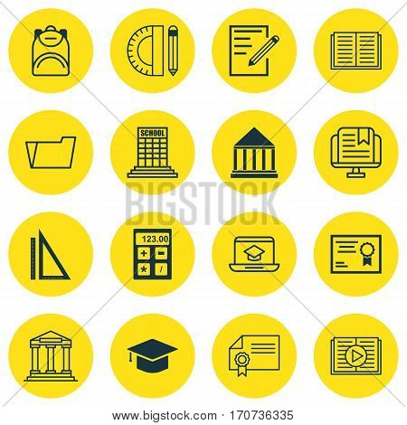 Set Of 16 Education Icons. Includes Measurement, Education Center, College And Other Symbols. Beautiful Design Elements.