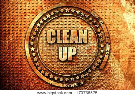 cleanup, 3D rendering, text on metal