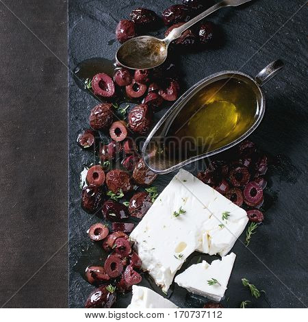 Black Olives And Feta Cheese