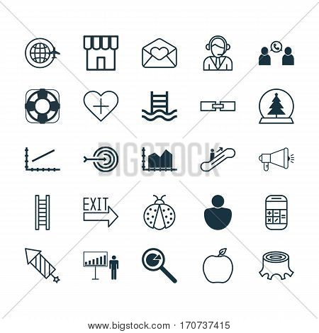 Set Of 25 Universal Editable Icons. Can Be Used For Web, Mobile And App Design. Includes Elements Such As Favorite Person, Project Presentation, Tree Stub And More.