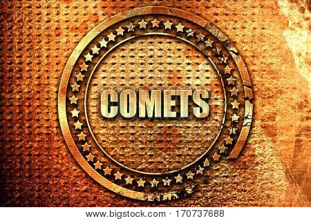 comets, 3D rendering, text on metal