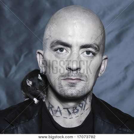 portrait studio on isolated background of a strange man with his rat poster
