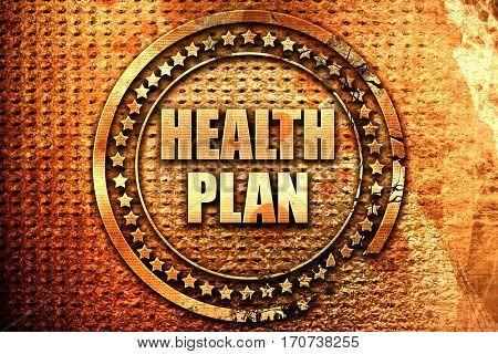 health plan, 3D rendering, text on metal