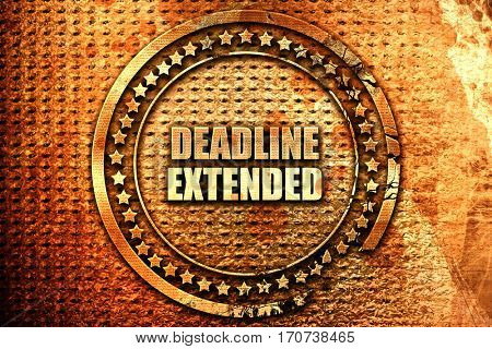 deadline extended, 3D rendering, text on metal