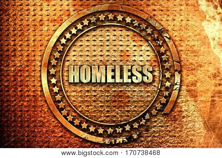 homeless, 3D rendering, text on metal