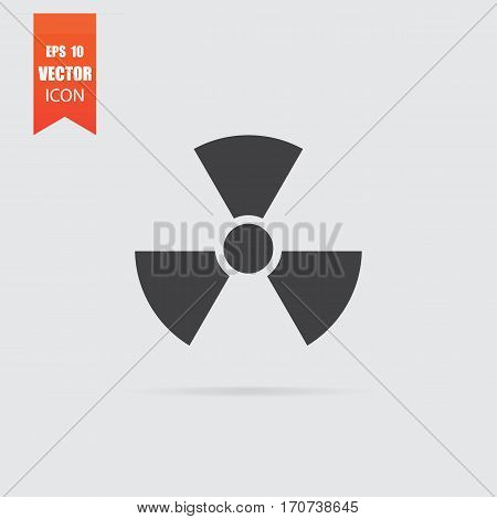 Radiation Icon In Flat Style Isolated On Grey Background.