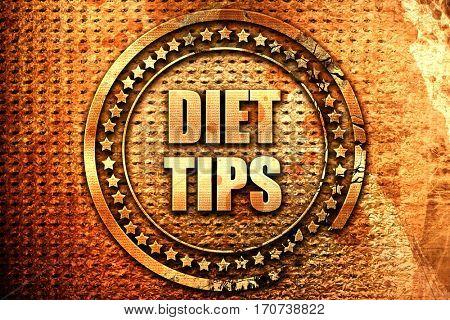 diet tips, 3D rendering, text on metal