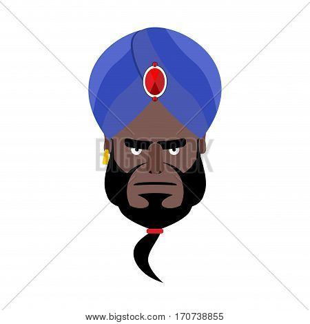 Indian Face In Turban Angry Emoji. Head Man Of India Evil Emotion Isolated