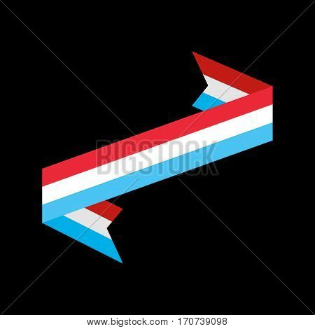 Luxembourg Flag Ribbon Isolated. Grand Duchy Tape Banner. State Symbol